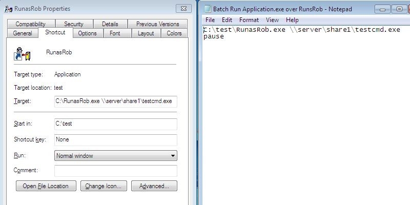 run batch file as administrator command line